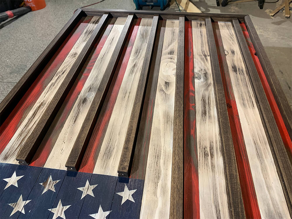 the rustic junkee-american flag challenge coin rack-1